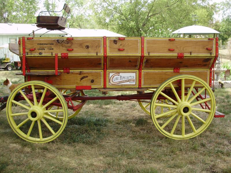 wagon box on wood wheeled running gear